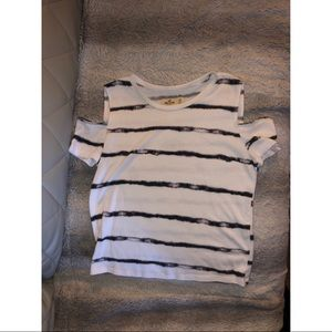 "Striped open cold shoulder ""crop"" top"